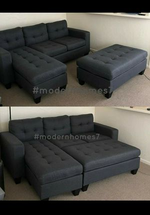 Grey sectional sofa with ottoman convertible sleeper couch for Sale in Anaheim, CA