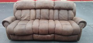 Very Nice Brown Leather Suede Sofa with Nail Heads for Sale in Norcross, GA
