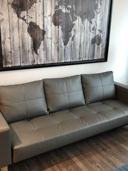Modern Grey Leather Sofa - Fold Out sleeper for Sale in Atlanta,  GA