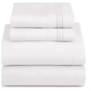 California King Size 4 Piece Bed Sheet Set - Deep Pocket Soft Cooling Comfortable Lightweight Brushed Microfiber Bedding Sheets Set, White for Sale in El Cajon, CA