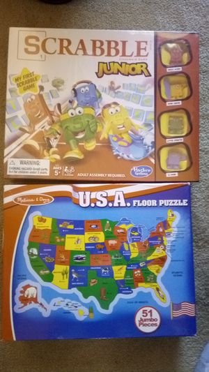 2 game boards for $15. Scrabble Jr, brand new+ Melissa and Doug floor puzzle, no missing pieces, US map for Sale in Lucas, TX