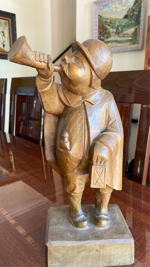 Bugle man wood carving signed stands 13 1/2 inches tall for Sale in Palm Beach Gardens, FL
