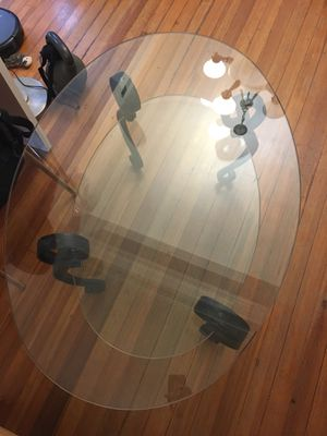 2-level glass and iron coffee table for Sale in Baltimore, MD