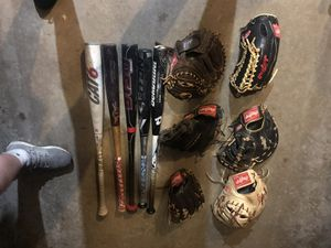 baseball bats and gloves (READ DESCRIPTION!!!) for Sale in Huntingdon Valley, PA