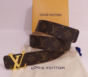 Louis Vuitton Brown Mongram Belt Gold LV New Mens Womens Gucci Ferragamo Versace Fendi Burberry Wallet for Sale in New York, NY