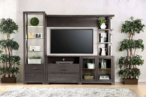 GRAY FINISH TV STAND WALL ENTERTAINMENT UNIT PIER STORAGE DISPLAY MEDIA CABINETS 8mm Tempered Glass Shelves for Sale in Riverside, CA