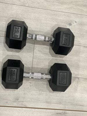 Pair of brand new 25 lb rubber hex dumbbells for Sale in Great Falls, VA