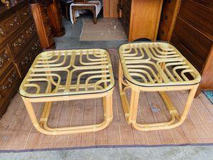 Beautiful Brown Jordan Real Bamboo Rattan Coffee & End Table Glass Top Set for Sale in Everett, WA