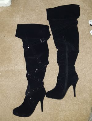 Black suede thigh high boots / pumps in sizes 8.5 & 9 for Sale in Laveen Village, AZ