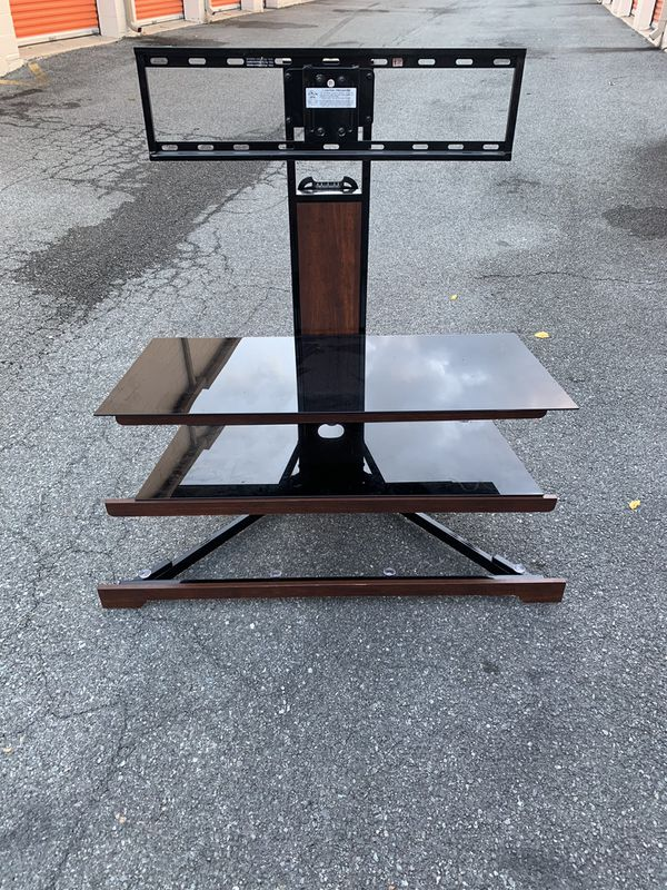 Beautiful metal tv stand with glass shelves