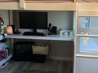 Full Loft Bed With Desk And Dresser, Ladder. White for Sale in Simi Valley,  CA
