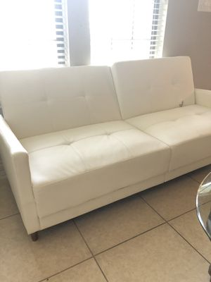 White Leather Futon for Sale in College Station, TX