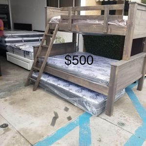 BUNK BED TWIN OVER FULL W/ TWIN ROLE OUT for Sale in Los Angeles, CA