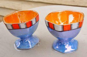 Art deco lustreware eggcup set egg cups MADE IN JAPAN for Sale in Saginaw, MI