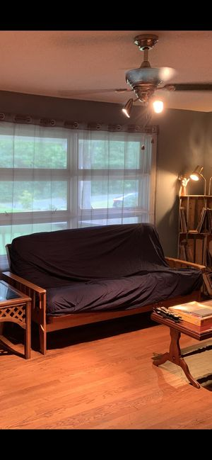 Real wood futon frame with mattress for Sale in Winston-Salem, NC