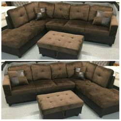 Brand New Brown Microfiber Sectional With Storage Ottoman for Sale in Spanaway,  WA