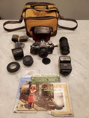 Canon AE-1 program 35mm film SLR Manual Focus Camera w/ accessories for Sale in Houston, TX