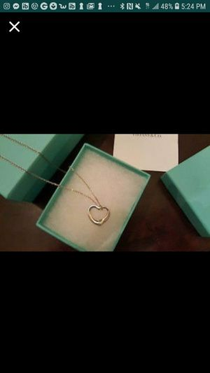 Authentic Tiffany&Co Elsa Peretti Open heart Pendant and Necklace W/Original T&Co Box, bag and packaging for Sale in Port St. Lucie, FL