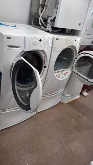 White front load washer and dryer set excellent condition for Sale in Laurel, MD