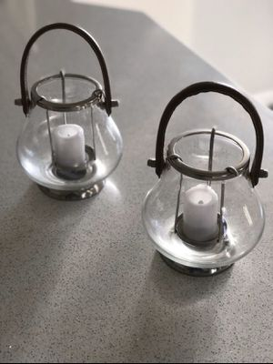 Two Pottery Barn decorative candle holders for Sale in Fresno, CA