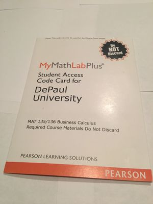 My math lab plus student access card for Sale in Bartlett, IL