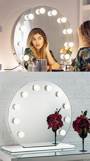 "New, $150 Round 28"" Vanity Mirror w/ 10 Dimmable LED Light Bulbs, Hollywood Beauty Makeup USB Outlet for Sale in Whittier, CA"