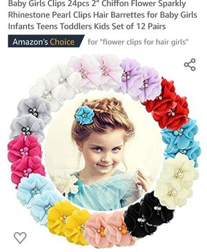 """Baby Girls Clips 20 pcs 2"""" Chiffon Flower Sparkly Rhinestone Pearl Clips Hair Barrettes for Baby Girls Infants Teens Toddlers Kids Set of 18 Pairs for Sale in La Habra Heights, CA"""