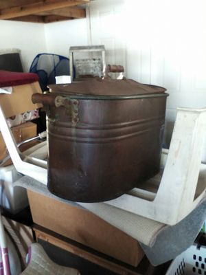 Antique copper pot ! circa 1910 !! storage for clothes or wood any thing you want ! for Sale in Riverside, CA
