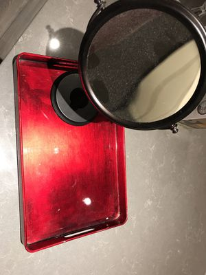 Magnified Makeup mirror + free Red vanity tray for Sale in Seattle, WA