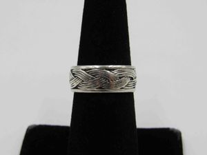 Size 6.75 Sterling Silver Rustic Woven Style Band Ring Vintage Statement Engagement Wedding Promise Anniversary Bridal Cocktail Friendship for Sale in Lynnwood, WA