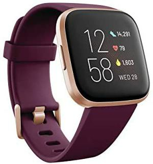 Fitbit Versa 2 Health and Fitness Smartwatch with Heart Rate, Music, Alexa Built-In, Sleep and Swim Tracking, Bordeaux/Copper Rose, One Size for Sale in Horicon, WI