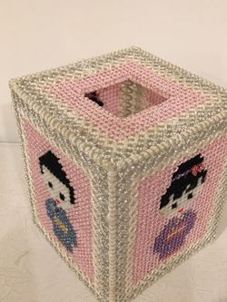Japanese Plastic Canvas Tissue Box Cover Holder Kokeshi Dolls Handmade for Sale in Issaquah,  WA