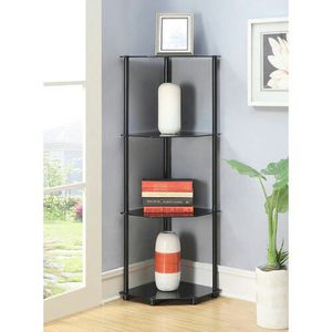 New Convenience Concepts Designs2Go No Tools 4 Tier Corner Shelf, Black Glass [Item 1067] for Sale in Irving, TX