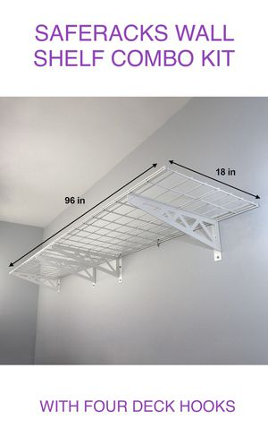 "SafeRacks Wall Shelf Combo Kit, Two 18""x 48"" Shelves And Four Deck Hooks for Sale in Flower Mound, TX"