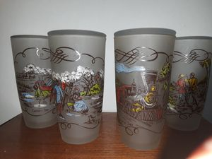 Vintage Currier and Ives Frosted Cocktail Glasses for Sale in Dittmer, MO