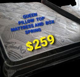 Queen Pillow Top Mattress And Box Spring for Sale in Fresno,  CA