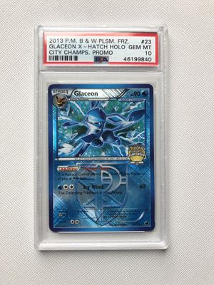 2013 Pokemon City Championship Promo Card PSA 10 GEM MINT (MT) #23 Glaceon X-Hatch Holo for Sale in Queens, NY