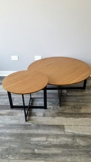 Coffee table and end table set in walnut wood and black metal for Sale in Elgin, IL