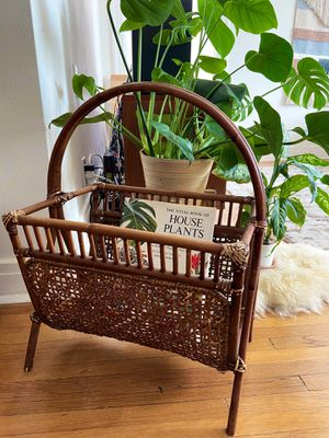 Vintage Rattan Wicker Woven Magazine Holder Rack for Sale in Long Beach, CA