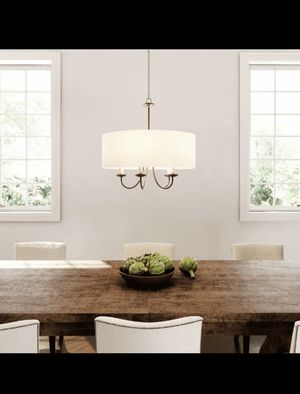 21.625 in. 5-Light Antique Bronze Chandelier with Beige Linen Shade for Sale in St. Louis, MO