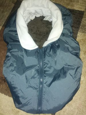 Babies R Us Car Seat Carrier Cover Fleece Gray White Center Zip Used for Sale in Dearborn, MI