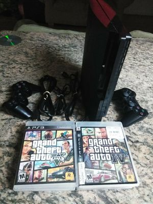 PS3 Slim with 2 wireless controls 6 games all wires for Sale in San Jose, CA