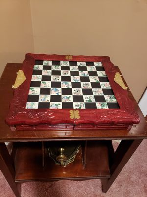 Asian Chess Set with a Carved Dragon Design Wood Case & Inlaid Tile Game Board with Built-in Drawers that store the Pieces for Sale in Akron, OH