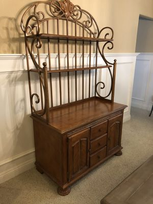 Wood and Iron buffet table(bakers rack/side board) for Sale in Stockton, CA