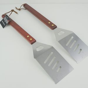 Stainless Steel BBQ Spatula - Set Of 2 - Wooden Handle - Barbecue Grill Accessories for Sale in Monterey Park, CA