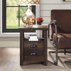 """SET OF 2 Modern Farmhouse End Table, Aged Brown Ash, Brown 18.125""""W x 18.125""""D x 23""""H for Sale in Dallas, TX"""