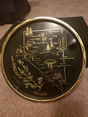 Vintage Souvenir Nevada Metal Black Round Tray for Sale in Silver Spring, MD