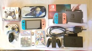 Nintendo Switch bundle with Super Smash Bros Ultimate, Minecraft, wired Zelda controller, and carrying case for Sale in Richardson, TX