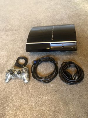 Ps3 Fat Console Playstation 3 CECHG01 System 40GB With Cables and Official Controller for Sale in Riverside, CA