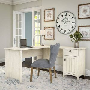 Antique white L shaped Storage desk lots of surface work space for Sale in San Diego, CA